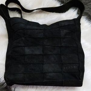 Vintage Chanel Suede Patchwork Satchel Bag